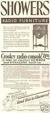VTG 1920's SHOWERS Radio Walnut Furniture Console CROSLEY AC Electric Gembox AD