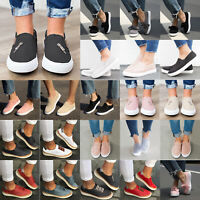 Womens Flat Loafers Pumps Ladies Casual Slip On Sneakers Trainers Shoes Size US