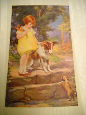 SAMPLE ART PRINT for Calendar Vintage LITHOGRAPH little girl and dog with puppy