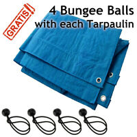 Blue Tarpaulin with Eyelets Waterproof Tarp Quality Cover Sheet & 4 Bungee Balls