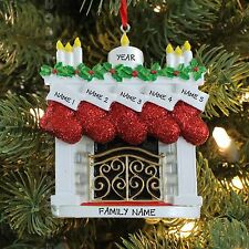 FIRE PLACE MANTLE STOCKING FAMILY OF 5 PERSONALIZED CHRISTMAS TREE ORNAMENT 2017