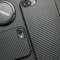 For iPhone XS Max XR X 7 8 Plus Carbon Fiber Phone Case Cover+2PK Tempered Glass