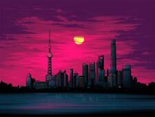 Shanghai Comic Con 2017 Shanghai Sunset Dan Mumford Poster Print SIGNED /200 COA