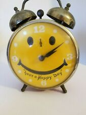 """VINTAGE """"ROBERT SHAW LUX TIME"""" WORKING SMILEY FACE ALARM CLOCK HAVE A HAPPY DAY!"""