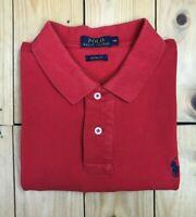 Men's Red Polo Ralph Lauren Polo Shirt Large L Custom Fit Short Sleeve Cotton A