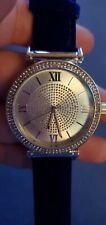 Silvertone And Rhinestone Watch With Blue Velvet Band Womens, tested, works!