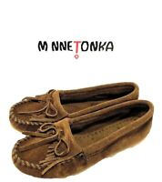 Minnetonka Dusty Brown Suede Slip on Moccasin Loafer Flats Womens Size Us 5.5