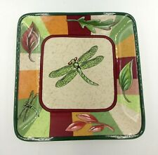 Party Lite Dragonfly Candle Tray Trinket Dish Square Green Brown Tan 5""