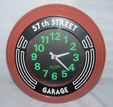 "57TH STREET GARAGE 14"" INCH WALL CLOCK BIG TIME PIECE GLOW IN DARK NUMBERS"