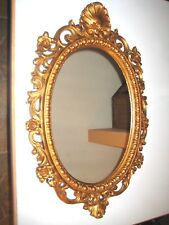 """Mid Centry Gold Tone Mirror Floral Egg & Dart Syroco? # 608 28"""" 1/2 x 18 1/2"""""""