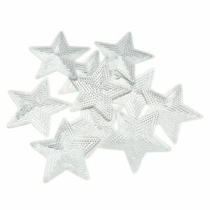 10 Pcs Sequins Star Patches Sew on Applique Embroidery Clothing Badge DIY Craft