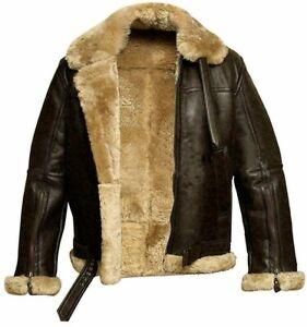 Mens RAF B3 Pilot Shearling Sheepskin Bomber Aviator Jacket Winter Warm Fur Coat