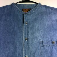Faded Glory Men Short Sleeve Button Up Shirt Large L Chambray Blue Pocket Casual