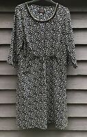 Avoca Anthology Black/Cream Print Gathered Dress, Beaded Neckline Size 4 UK14-16