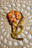 Vintage HEDY Signed Orange Enamel Flower Brooch Pin Faux Pearl Gold-tone  A344
