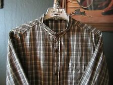 XL FITTED 17.5-34/35 COTTON REDSAND PLAID BANDED COLLARLESS WESTERN SHIRT
