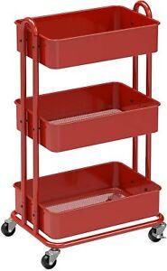 SIMPLEHOUSEWARE Heavy Duty 3-Tier Metal Utility Rolling Cart, Red