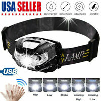 USB Rechargeable Cap Lamp LED Headlamp Headlight Head Lamp Flashlight Waterproof