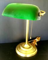 Vintage Art Deco Bankers Lamp Emerald Green Shade Desk Library Table Office Den