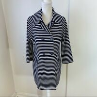 Cabi Women's Navy Blue and White Stripe Maritime Trench Coat Jacket Size M EUC