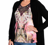 ONE WORLD PINK MULTI FLUTTER SLEEVE W/ CROCHET LACE EMBELLISHED KNIT TOP Sz 1X