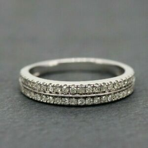 18ct White Gold 0.25ct Diamond Two Row Eternity Ring Size J, US 4 3/4