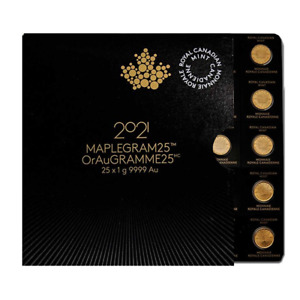Goldmünze Maplegram25 25 x 1 Gramm Gold Maple Leaf Verschiedene Jahre im Blister