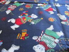 Kessler Navy Blue Polar Bear Christmas cotton fabric Bthy half yard cut 1/2