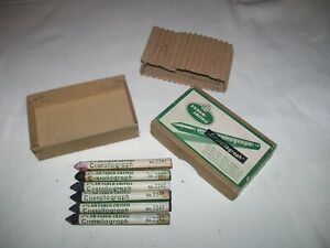 Box of 6 Vintage A.W. Faber-Castell Cristallograph Crayon 2242 wax type pencil