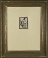 """Stout Man in a Large Cloak"" Rembrandt Restrike Etching Framed 23""x19 1/2"""