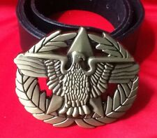 GERMAN EAGLE MILITARY STYLE MEDAL GOLD CROSS BUCKLE LEATHER BELT