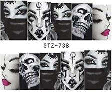 Nail Art Stickers Water Decals Transfers Gothic Skull Masks (STZ738)