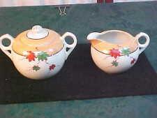 Exquisite Mid-Century Peach Luster Leaf Designed Handled Creamer & Sugar Bowl