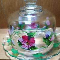 HAND PAINTED CLEAR GLASS COVERED CHEESE butter DISH w spring flower pink purple