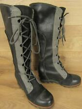 Sorel Cate the Great Black Grey Leather Tall Lace Up Wedge Boots 6.5
