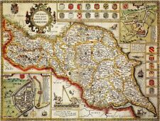 YORKSHIRE NORTH & EAST RIDINGS 1610 by John Speed - reproduction old map