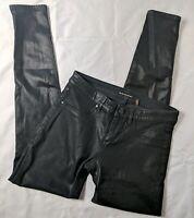 Elie Tahari Womens Sz 2 Azella Low Rise Skinny Black Coated Jeans
