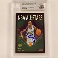 GARY PAYTON Signed 2003-04 UD Victory ALL STARS Foil card BAS BGS Beckett Auto