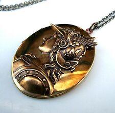 ATHENA Greek Goddess & Warrior w/ OWL HELMET Large Vtg Photo LOCKET Necklace