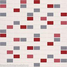 Vinyl Tapete Rasch Aqua Deco 817102 rot silber grau weiß Mosaik Fliesen Küche