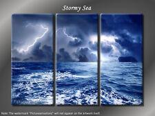 Framed Huge 3 Panel Ocean Lightning Wave - Stormy Sea