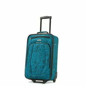 NWOT American Tourister Teal Floral Travel Carry-on Luggage Wheels OT1267