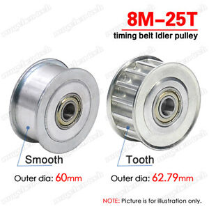 8M Idler Pulley 25 Teeth 8mm Pitch W/Ball Bearing for 15/20/25/30/40mm Wide Belt