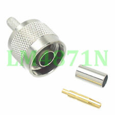 1pce Connector RP.N male jack crimp RG58 RG142 LMR195 RG400 cable straight