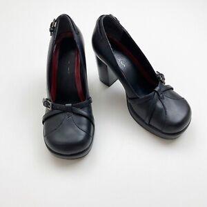 Vintage MUDD Womens Black Chunky Heel Shoes Platform Loafers 90s Y2K 2000s SZ 6