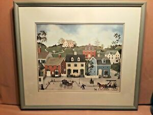 """LINDA NELSON STOCKS """"THE VILLAGE of CHESHIRE"""" Ltd Ed Print Signed & Numbered"""