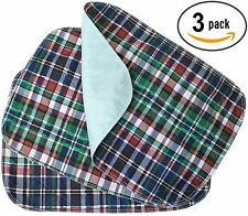 3 PACK - Plaid Small Washable Chair Pad Bed Pad / Small Incontinence Underpad