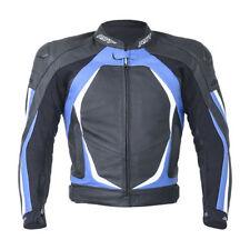 Blousons bleu taille en cuir pour motocyclette