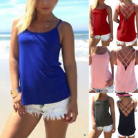 Women's Halter Sleeveless Blouse Tank Tops Loose Hollow Out Camisole Shirt Vest
