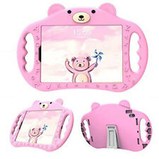 Pink Bear Kids Cartoon Grip Case for iPad Pro 11 w Kickstand - Shockproof Rubber